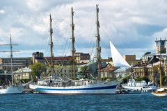Sailing ships in the old city Stock Photography