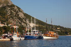 Sailing ships in Omis, Croatia Stock Photos