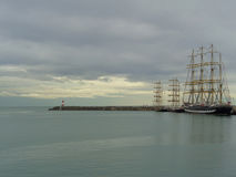 Sailing ships at the pier. The Black Sea Regatta Royalty Free Stock Photo