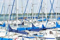 Sailing ships in port of Balatonfoldvar royalty free stock images
