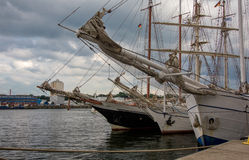 Sailing ships in the port keel Royalty Free Stock Images