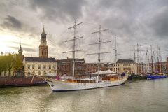 Sailing ships on the quay Stock Photography