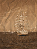Sailing ships in retro style Stock Photography