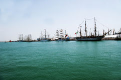Sailing ships. Sailboat masts. Sailing ships in the port of Cadiz capital, Andalusia. Spain. Europe stock photography