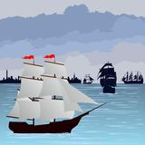 Sailing ships at sea Stock Image