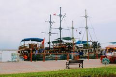 Sailing ships for sea excursions in the city harbor Antalya, Turkey Stock Photos