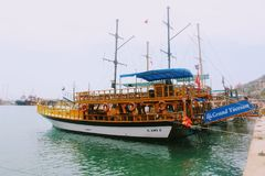 Sailing ships for sea excursions in the city harbor Antalya, Turkey Stock Images