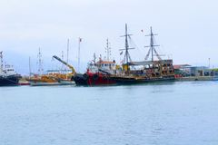 Sailing ships for sea excursions in the city harbor Antalya, Turkey Royalty Free Stock Photo