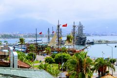 Sailing ships for sea excursions in the city harbor Antalya, Turkey Royalty Free Stock Photography