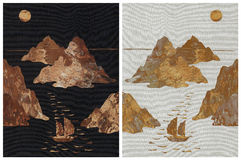 Sailing ships in sea of Japan Stock Images