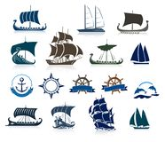 Sailing Ships Silhouettes And Marine Emblems Stock Images