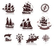 Sailing ships  silhouettes  and marine symbols iconset Stock Image