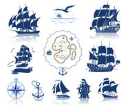 Sailing ships  silhouettes  and marine symbols iconset Royalty Free Stock Photos