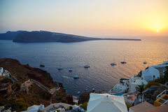 Sailing ships at sunset. In Santorini, Greece Royalty Free Stock Images