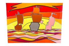 Sailing ships at sunset - stained glass Stock Photos