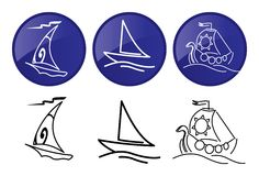 Sailing ships. Vector graphics icons set. Stock Images