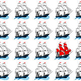 Sailing ships with white and red sails Stock Photography