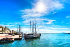 Sailing ships and yachts moored in the port of Volos, Greece Royalty Free Stock Photo