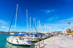 Sailing ships and yachts moored in the port of Volos, Greece Royalty Free Stock Photos