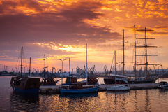 Sailing ships and yachts stand moored in Varna Royalty Free Stock Image