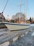Sailing ship in river ice Stock Photos