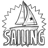 Sailing sketch. Doodle style sailboat, regatta, or sailing illustration in vector format. Includes text and sailboat Stock Photo