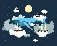 Sailing through the sky. Fantasy, dream, imagination illustration Stock Images