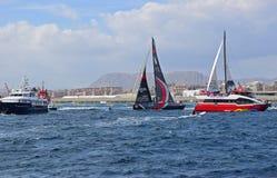 Sailing Between Spectator Boats Volvo Ocean Race Alicante 2017 Stock Images