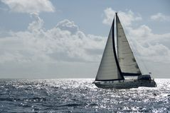 Sailing at Speed. A sailboat in the Caribbean royalty free stock images
