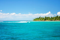 Sailing speedboat in the blue carribean sea near Saona island Royalty Free Stock Image
