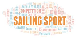 Sailing Sport word cloud. Wordcloud made with text only stock illustration
