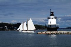 Sailing by Spring Pt. Lighthouse royalty free stock images