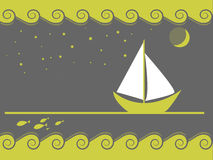 Sailing with stars. In the night Royalty Free Stock Images