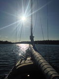 Sailing. Stockholms archipelague. Sailing in August. Harmony and peace Stock Photos