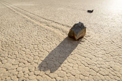 Sailing stones on the Racetrack Playa in Death Valley Royalty Free Stock Photography