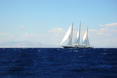 Sailing in the storm, exploring Greece royalty free stock photography