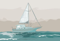 Sailing on stormy seas. Vector art on sailing and yachting Royalty Free Stock Photo
