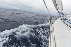 Sailing in stormy weather in the Mediterranean Sea. Royalty Free Stock Photos