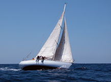 Sailing with strong wind Stock Image