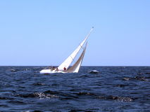 Sailing with strong wind stock photography
