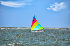 Sailing Sunfish. A birghtly colored sunfish sailboat skimming along the bay Royalty Free Stock Photos