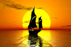 Sailing into sunset. Illustration of silhouetted old fashioned sailing ship with orange sunset background Stock Photography