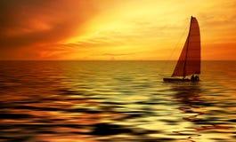 Sailing and sunset Stock Image