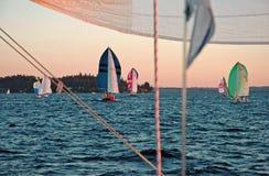 Sailing into the Sunset. On Lake Washington from Kirkland, WA Stock Photo
