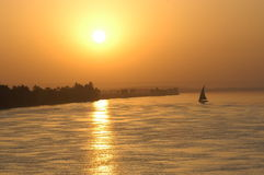 Sailing sunset. On the Nile river, Egypt royalty free stock photo
