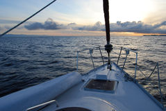 Sailing into the sunset. In the pacific coast Stock Photos