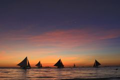 Sailing in sunset Stock Images