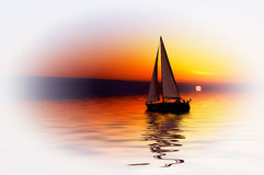 Sailing and sunset Royalty Free Stock Photos