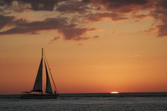 Sailing at sunset Royalty Free Stock Photography