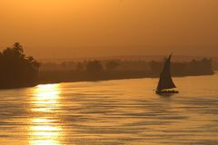 Sailing sunset Royalty Free Stock Photo